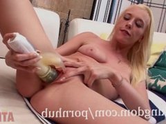 Young blonde Roxy Nicole using a toy to get off