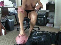 Goddess rapture turns short baldy into a foot slave