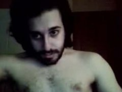 bearded guy cums in cam