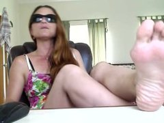 Mature redhead foot show