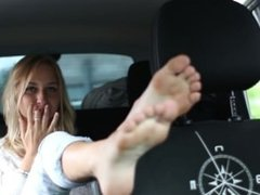 Tickling Dirty Feet in The car