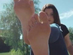 Kira's Tiny 18 Year Old Feet Flex at the Park