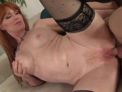 Sexy redhead Freya Fantasia loves getting demolished by a young huge cock