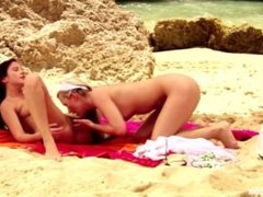 Sharon and Lola from Sapphic Erotica lesbian sex action on the beach