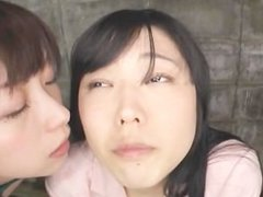 Long Tongue Japan Girls covered with spit nose licking