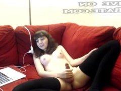 Teen tranny masturbates on her couch