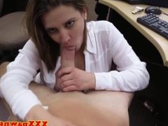 Busty babe pawns pussy and gives head