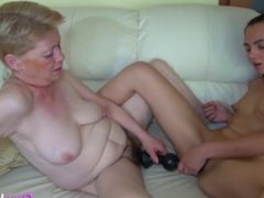 Blonde Gilf Has Fun With A Small Teen