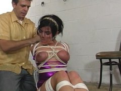 lucky in strict hogtie great gag and struggling