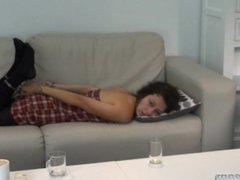 Hogcuffed on the sofa