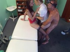 Sexy patient having threesome with her doctor and nurse
