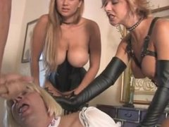 two mistress make slave suck cock