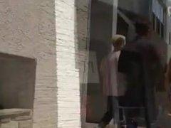 spyng pawg blond teen eating her white mini shorts