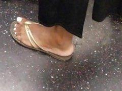 Candid ebony feet white toe nails