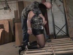 Painfully Hogtied on Pallet