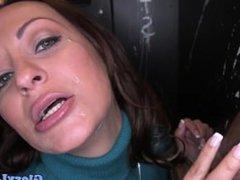 Facialized gloryhole babe tugs and sucks