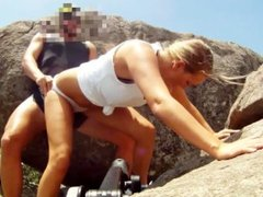 POV Cliffhanger - Blonde Gets Fucked Over The Edge Of A Cliff