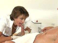 British Nurse White Latex Glove Handjob