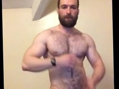 Hairy Muscle Guy Jerks Off