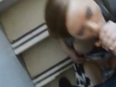 masturbation blowjob and facial in stair public building