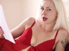 Hot goth blonde reads erotic fiction while stripping naked