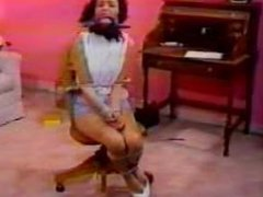 Girl getting chairtied and gagged onscreen