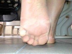 PANTYHOSE sole tease in jeans in work bathroom-blue toenail polish