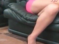 brunette milf in pink fishnet dress fighting to avoid upskirt panty shot !