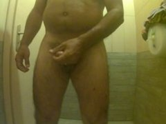 Jerking-off in public restroom with cumshot