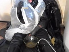 In my rubber I piss in a bowl, rub some over me and recycle by drinking.