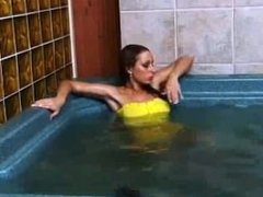yellow dress in the jaccuzi