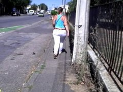 FRENCH BRUNETTE BIG ASS IN THE STREET