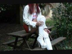 Redhead hooter girl smoking
