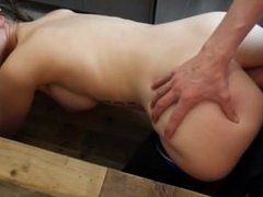 Busty brunette Ashley receives hot anal creampie