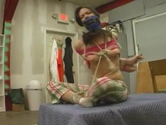 Stephanie tied up and mouth stuffed with gags