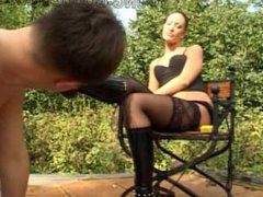 Slave worship high heel boots russian mistress