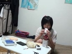 sleeping Japanese teen stripped, toyed, fucked, then creamed