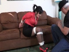 Milf Gigi tied up and gagged by neighbour