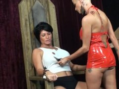 Joslyn punishes her slave girl Shay Fox with a strap on for being bad