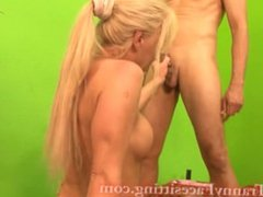 Double Anal Creampie with TS Joanna Jet - Blonde Tranny Ass Fucking
