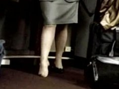 Pantyhose feet make an embarrassing shoe play at airport