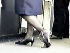 Pantyhose. Airline counter women can not stand hosed feet in shoes