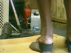 Black lady Black Thong Shoe hard cock crush