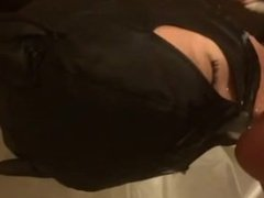 Girlfriend takes huge cumshot with a mask