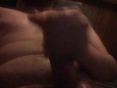 Guy cums on chest watching porn