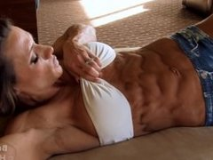 flexing abs muscle mature