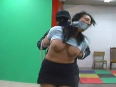 Christina bound, tape wrap gagged, and hogtied in pantyhose