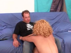 Cute blonde teen with curly hair seducing older guy
