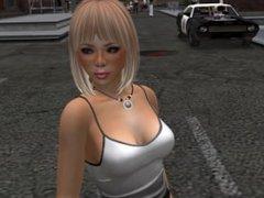 Une jolie blonde en mini jupe en jean sur le bord de la route