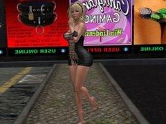 Une jolie blonde virtuelle en mini robe décolleté